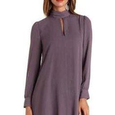 Dark Gray Ruched Mock Neck Shift Dress