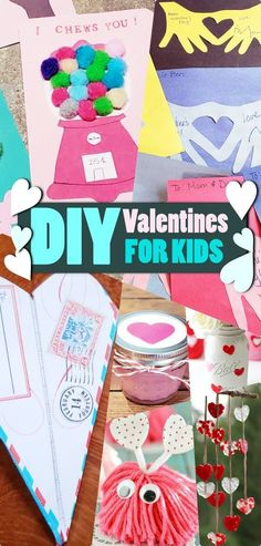 DIY Valentines for kids. Creative ideas to make valentine gifts. Cute Valentines Day Cards, Valentine Crafts For Kids, Holiday Crafts, Valentine Gifts, Valentine Ideas, Easy Diy Crafts, Diy Craft Projects, Fun Crafts, Diy Valentine's Gifts For Her