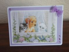 Little book of springtime, Hunkydory. Puppy and kittens at the window. Heartfelt Creations, Little Books, Cardmaking, Projects To Try, Diy Crafts, Hunky Dory, Frame, How To Make, Handmade Cards
