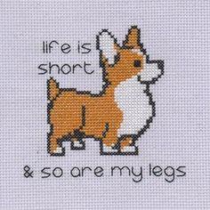 Hello, Monday. Let's do this. #crossstitch #crossstitcher #crossstitching #crossstitchersofinstagram #corgi #corgisofinstagram #lifeisshort #mylegs #legs #motto #lifequotes #monday #embroidery #embroideryart #dogsofinstagram