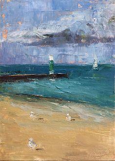Three at the Beach by maggie capettini Oil ~ 7 x 5