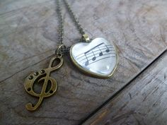 Music Note Pendant & Charm Necklace in Bronze