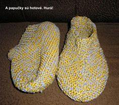 Fotopostup na Pletenie Pridávam vám postup na moje pletené papučky. Dĺžka chodidla týchto papučiek je 24 cm, ale obúvajú sa na nohu dlhú približne 26 cm. Plietla som z hrubej vlny vrúbkovanou vzorkou (stále hladko): chodidlá na ihliciach č.4 a vrch na ihliciach 4,5. Postup: č.1 Máme už upletených 18 očiek späť. Pokračujeme tretím riadkom: hladko upletieme 18 očiek a aj jedno Slippers, Ale, Ales, Slipper, Flip Flops