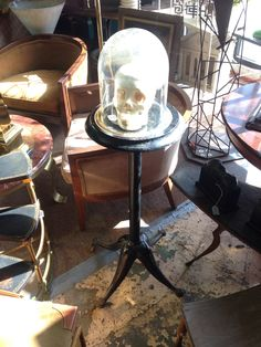 Iron medical stand and skull. 1880s.