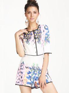 White Half Sleeve Contrast Trims Floral Jumpsuit 30.83