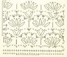 схема узора вязание крючком Stitch Patterns, Knitting Patterns, Crochet Patterns, Tunisian Crochet, Crochet Stitches, Bruges Lace, Tapestry, Hand Stitching, Embellishments