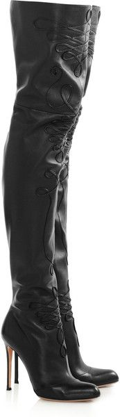 Altuzarra Embroidered Leather Thigh Boots in Black