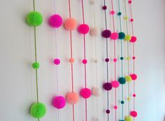 Pom pom Garland, Pompom Garland, Birthday Garland,Colorful Pom poms,Party Garland,Nursery Garland, Wedding Pom Poms- Handmade Garland   This adorable garland will brighten up any birthday celebrations or will look adorable year round in any childs room or for a party of any kind. They also look fantastic hanging from windows and will be sure to brighten up any room   Handmade Pom Pom Garland / Mobile featuring 4 x 4 wool pompoms , 7 x mini pompoms, 1 large cotton tassel and contrasting glass…