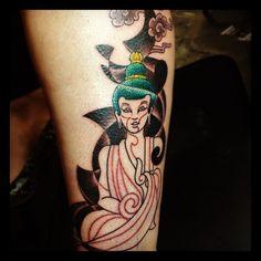 Done @ The Helsinki Ink (Finland 30/03/2012). (Tattoo Still In Progress...)  #buddha #clouds #psychedelic #oriental #tattoo #colortattoo #convention #helsinki #finland #2012