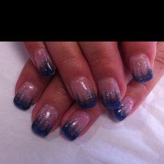 Blue and gun metal gel nail design