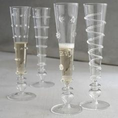 Footed handblown glass champagnes