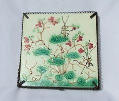 Antique French Aesthetic Art Nouveau Majolica Pottery Tile