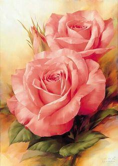 .rosas pintadas, esta eu já as tenho são de um pintor gosto muito