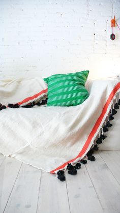 Image of Moroccan POM POM Wool Blanket Ecru stripe Coral