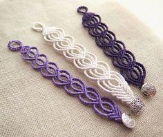 eart-shaped bracelets in white, lilac and purple 💜 Macrame Art, Micro Macrame, Macrame Jewelry, Macrame Bracelets, Diy Jewelry, Unique Jewelry, Handmade Jewelry, Jewelry Design, Jewelery