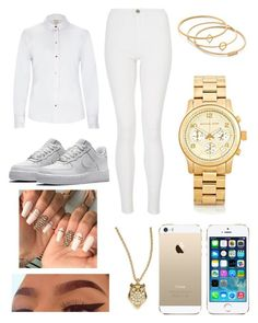 """"" by fashion-1407 ❤ liked on Polyvore featuring River Island, Quiz, NIKE, Kate Spade, FingerPrint Jewellry, Michael Kors and Madewell"