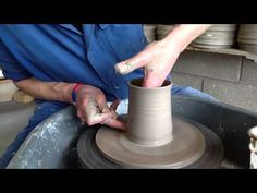 How to throw a straight mug on a pottery wheel - YouTube