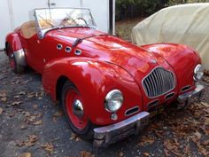 A Special Find: This 1952 Allard K2 is an extremely rare and desirable car. It wears its original colors red with tan interior and black top. Out of 119 built in total, it's one of just 12 built with the Mercury Flathead V8 engine.It was offered with Ford and Mercury V8 engines in the home market and with Chrysler and Cadillac V8 engines in the USA. Don't miss this special find for just $107,500  #gullwingmotorcars #classiccars #buy&sellclassiccars #VintageCarBuyer #ClassicCar