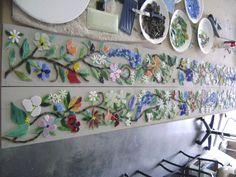 Mosaic Border Tiles in Floral Motif | Designer Glass Mosaics