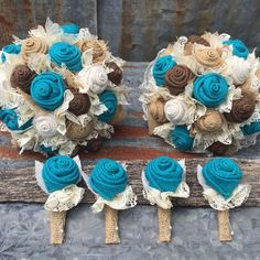 Custom order wedding package - bridal bouquet, medium size bridesmaid bouquet and boutonnieres  In turquoise, tan, brown, and white burlap roses and ivory lace.