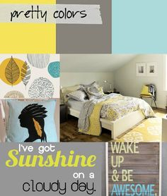 Yellow and Grey Bedroom for guest bedroom Grey And Gold Bedroom, Master Bedroom Bathroom, Grey Room, Dream Bedroom, Home Decor Bedroom, Girls Bedroom, Bedroom Ideas, Master Bedrooms, Bedroom Inspo