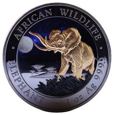 100 Shillings .9999 Fine Silver 2016 Somalia African Elephant 1 Oz