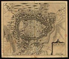 Vroegmoderne plattegrond van Bergen.