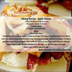 recipes renaissance A perfect Viking-style breakfast treat for Autumn! Apples and Bacon! A perfect Viking-style breakfast treat for Autumn! Apples and Bacon! Medieval Recipes, Ancient Recipes, Viking Food, Nordic Recipe, Norwegian Food, Norwegian Recipes, Scandinavian Food, Good Food, Yummy Food