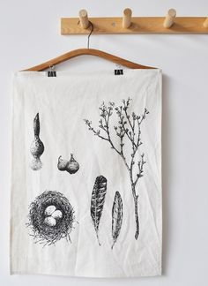 Captures my favorite springtime elements! All in a tea towel! BookHou Etsy shop via Lake Jane