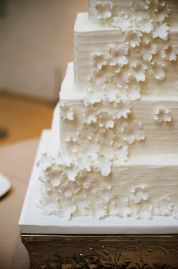 Modern square cake with tiny sugar details!