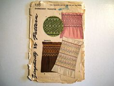 Vintage 1946 Embroidery Transfer Dainty Smocking Pattern. Simplicity 7215 via Etsy