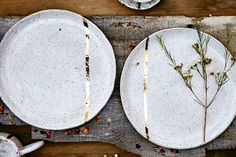 Stoneware I Lead Free I Handmade I Sizes and Color Vary All items are packaged with recyclable and biodegradable materials. Our business cards are made from seed paper and grow Wildflowers. Seed Paper, Gold Line, Biodegradable Products, Stoneware, White Gold, Earth, Plates, Ceramics, Tableware