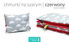 kocyk ocieplany + poduszka MINKY - czerwony - MILUTKA - Poduszki dla niemowląt