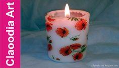 Ozdabianie świeczki (decoupage)  z pomocą suszarki [candle decuopage hai...