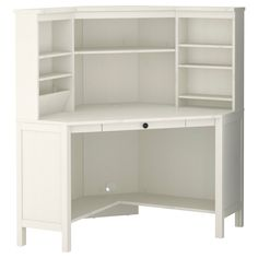"""HEMNES Corner workstation - white stain - IKEA - I would love to work something like this into a """"built in"""" in the living room"""