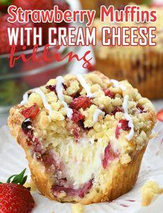 Strawberry Cream Cheese Filling, Cream Cheese Desserts, Strawberries And Cream, Cream Cheese Cupcakes, Cream Cheese Biscuits, Cream Cheese Bars, Cream Cheese Recipes, Strawberry Coffee Cakes, Strawberry Recipes