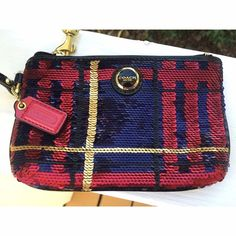 """Coach Poppy Tartan Sequin Wristlet New without tags, absolutely flawless condition! • Gorgeous Wristlet, I know many people have this on their ISO's! • Hard to find • Dimensions: about 4"""" X 6"""" • Red & blue with black & gold accents • NO TRADES NO PAYPAL • Coach Bags Clutches & Wristlets"""