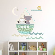 Owl And Pussycat Fabric Wall Stickers by Littleprints, the perfect gift for Explore more unique gifts in our curated marketplace. Home Decor Bedroom, Kids Bedroom, Childrens Bedroom, Baby Wall Decor, Kids Room Wall Stickers, Bedroom Pictures, Wall Drawing, Baby Boy Rooms, Baby Room