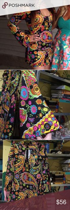 60's Psychedelic Mod Vintage Cutout Dress Bought this from another posher who bought it at a vintage store! This is a super duper psychedelic sexy cutout dress with bell sleeves. I'm a size S/M build with 34DD breasts and it fits phenomenally just as it did in the model with a different build shown in the pics! I went crazy on a shopping spree and am now trying to get rid of my entire closet! Keywords: hippie, trippy, 60's, 70's, flower power, technicolor, dance, festival, concert. Vintage…