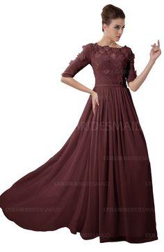 Burgundy Casual A-line Sabrina Elbow Length Sleeve Backless Beaded Bridesmaid Dresses