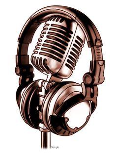 I like the idea of headphones. music tattoo ideas Headphones and Mic by on DeviantArt Music Tattoo Designs, Music Tattoos, Tatoos, Headphones Tattoo, Music Headphones, Arte Do Hip Hop, Hip Hop Art, Music Drawings, Music Artwork