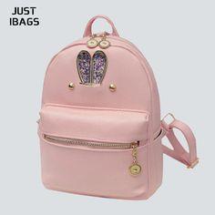 New Cute Cartoon Rabbit Ears Quality Women PU Leather bags Backpack Double  Shoulder schoolbag Bag Travle Teen School Girl