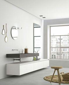 Sistema bagno in Micromalta e rovere, Lavabi bagno in pietra, gres porcellanato