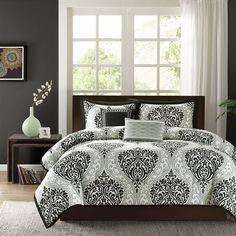 Elegant Black and White Bedroom Ideas - Intelligent Design - Senna -All Seasons Comforter Set -4 Piece - Aqua - Damask Pattern - Twin-TwinXL Size at luxcomfybedding.com