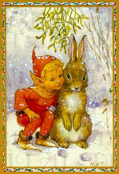 Adorable Little Boy Elf and His Big Bunny Friend. Vintage Illustration. Christmas Digital Download