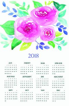 2018 calendar Watercolor Art, Art Work, Design Art, Calendar, Etsy, Artwork, Work Of Art, Watercolor Painting, Watercolour