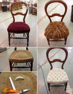 L'atelier de la Marquise : chaise Louis Philippe capitonnée DIY relooking de meuble                                                                                                                                                                                 Plus