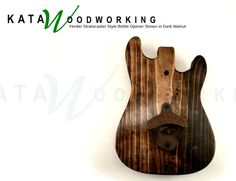 Fender Stratocaster Style Wood Cut-out Bottle by KataWoodworking