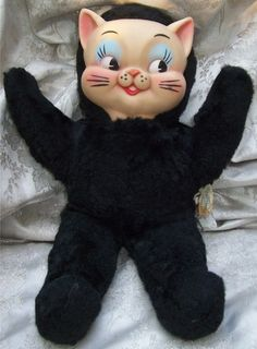 babydearr:  tammytrasho:  vintagetoyarchive:  KNICKERBOCKER: 1960s Rubber Face Black Cat Plush Doll  I NEED HIIIIIIM <3  Ahh!