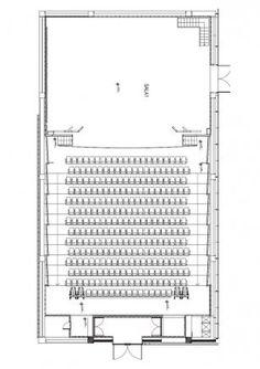 Case Studies, Centro Cultural Gabriela Mistral Image 8 – Architecture is art Auditorium Plan, Auditorium Architecture, Theatre Architecture, Auditorium Design, Cultural Architecture, Church Architecture, Architecture Drawings, Theater Plan, Multipurpose Hall